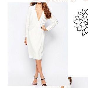 ASOS NEON ROSE WHITE FAUX WRAP DRESS LONG SLEEVES